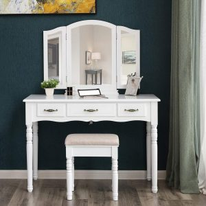 SONGMICS Vanity Table Set Makeup Dressing Table with Cushioned Stool