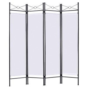 Giantex Room Divider Four Panel Screens Steel Frame, White