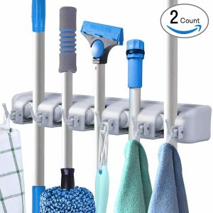 Pack of 2 Broom and Mop Holder Wall Mount Storage