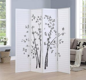 Roundhill RD043WH 4 Panel Bamboo Print Room Screen, White