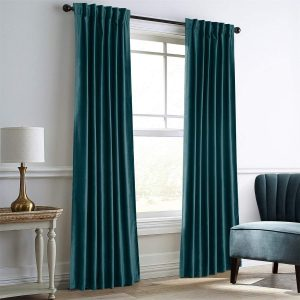 Dreaming Casa Darkening Dark Green Velvet Curtains for Bedroom