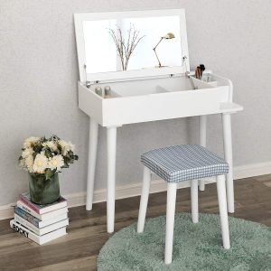 SONGMICS Vanity Makeup Table with Organizers White