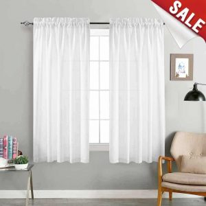 jinchan Privacy Semi Sheer 63 inches Curtains for Bedroom