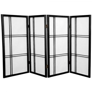 ORIENTAL FURNITURE 4 Panels Black Tall Double Cross Shoji Screen