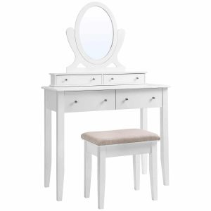 SONGMICS Vanity Table Set  Wooden makeups Dressing Table