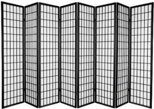 SQUARE FURNIUTRE- Eight Panel Room Divider Black Screen