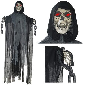 Prextex 5 Ft. Hanging Grim Animated Reaper Skull Halloween Decoration