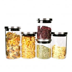 Triangle Stackable Glass Food Storage Containers with Steel Lids