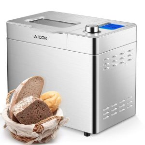 Aicok Custom Loaf Bread Maker 25 Programs Gluten Large-Sized LED Display