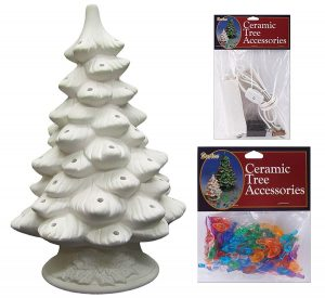 Daruce DIY Unfinished Ceramic Christmas Tree with Accessories