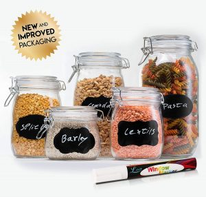 HomEquip 5-Piece Airtight Glass Canister Set