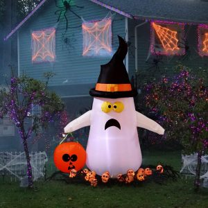 YUNLIGHTS 4 Foot Lighted Blow Up Ghost Halloween Inflatable Ghost