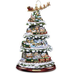 Hawthorne Village Thomas Kinkade Animated Tabletop Christmas Tree With Train