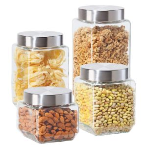 Oggi 4 Piece Square Glass Canister Set