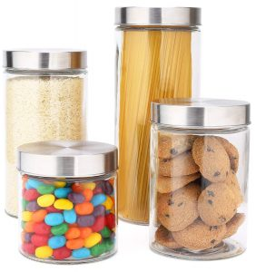 EATNEAT 4 Glass Canister Set with Stainless Steel Lids