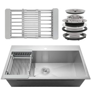 Firebird Single Bowl 18 Gauge Handmade Stainless Steel Kitchen Sink with Adjustable Dish Tray