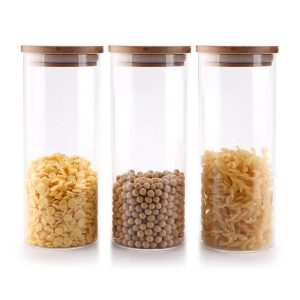 MuciHom Glass Food Storage Canisters with Bamboo Lids