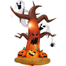 Halloween Inflatable 8 feet Tall Dead Tree Pumpkins on Bottom