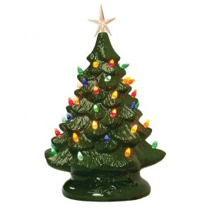 Fox Valley Traders Retro Prelit Ceramic Tabletop Christmas Tree