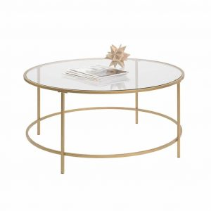 Sauder 417830 Int Gold Finish Lux Round Coffee Table
