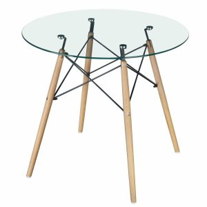 GreenForest Modern Round Glass Dining Table Coffee Table
