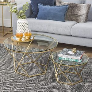 New Geometric Glass Gold Nesting Coffee Tables