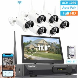 isotect All in One 1080P Security Camera Surveillance System with 11.6-inch Monitor