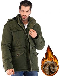 Yozai Mens Winter Fleece Coat Military Warm Jacket