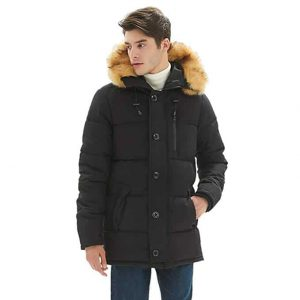 PUREMSX Mens Thicken Quilted Winter Jacket, Padded Coat