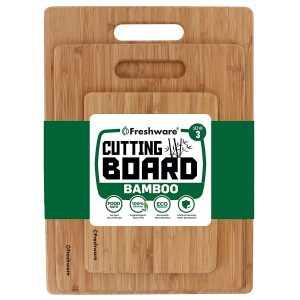 Freshware Bamboo Wood Chopping Boards Cutting Board- Set of 3
