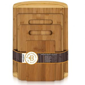 Premium Bamboo Eco-Friendly Wooden Cutting Board Set of 4