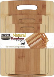 Utopia Kitchen Bamboo Small, Medium and Large Cutting Board 3 Piece Set