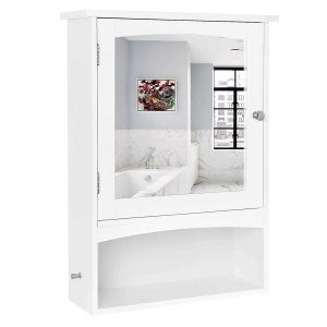 SONGMICS UBBC21WT Mirror Cabinet, Adjustable Shelf Bathroom Storage Cabinet