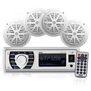 Pyle- Marine Radio 4 Speakers Receiver PLMRKT38W Speaker Set (White)