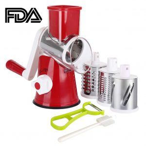 Ourokhome Manual Rotary Round Tumbling Cheese Grater (Red)