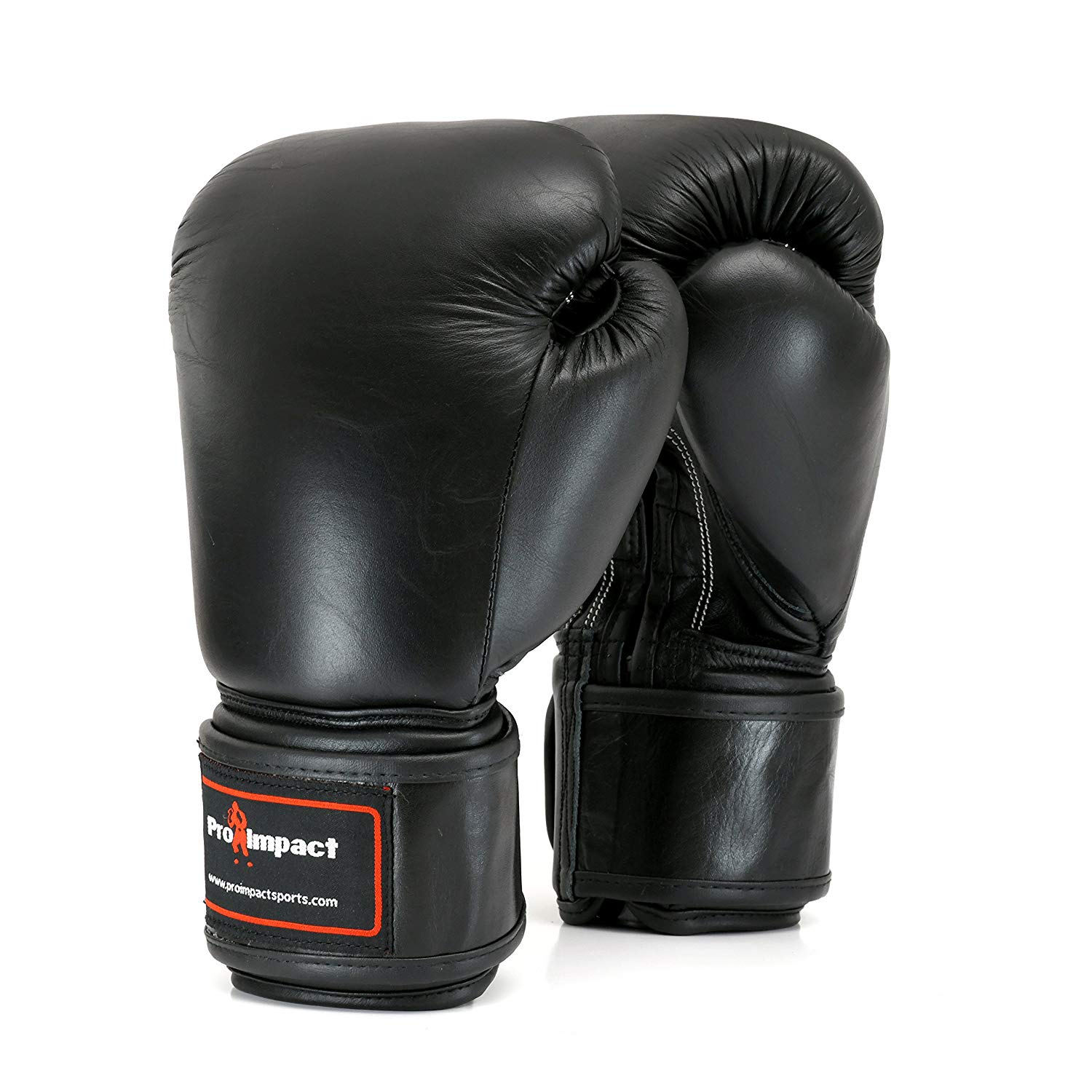 Pro Impact Genuine Black - Durable Leather Boxing Gloves