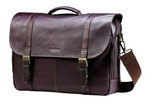 Samsonite Flap-Over Colombian Leather Messenger Bag, Brown
