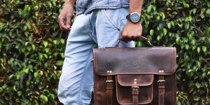 15 inch Vintage Leather Messenger Satchel Bag