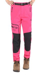 Anlamb Women's Outdoor Windproof Waterproof Fleece Cargo Hiking Pants