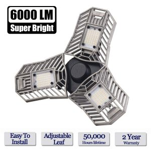 Lead-Go- LED Garage Lights, 6000LM Deformable 60W E26 E27 Ceiling Lighting