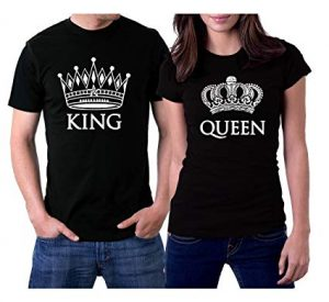picontshirt Black Couple King and Queen T-Shirts White Crowns