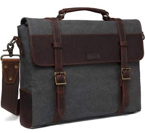 Vaschy Vintage Detachable Strap Genuine Leather Canvas Messenger Bag