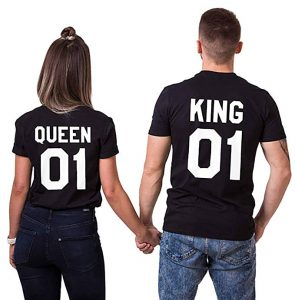 Double Fashion 2 Matching Couple T-Shirt for Valentine Wedding Birthday