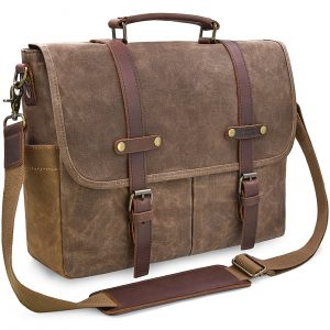 NEWHEY- Mens 15.6 Inch Waterproof Genuine Leather Messenger Bag, Brown