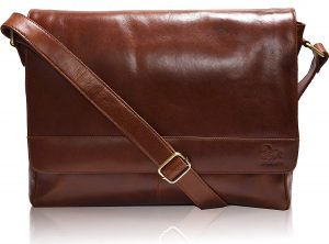 ESTALON- Leather Premium Office Tan Laptop Messenger Bag