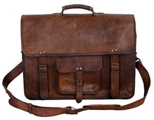 KPL 18 Inch Brown Handmade Vintage Men's Leather Messenger Bag Satchel