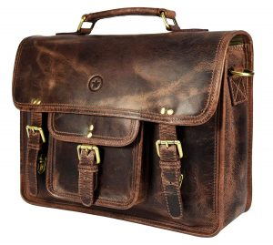 AARON LEATHER GOODS VENDIMIA ESTILO- 15-inch Vintage Leather Messenger Bag