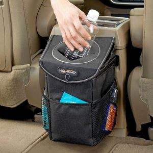 High Road StashAway Car Trash Can with Storage Pockets and Lid