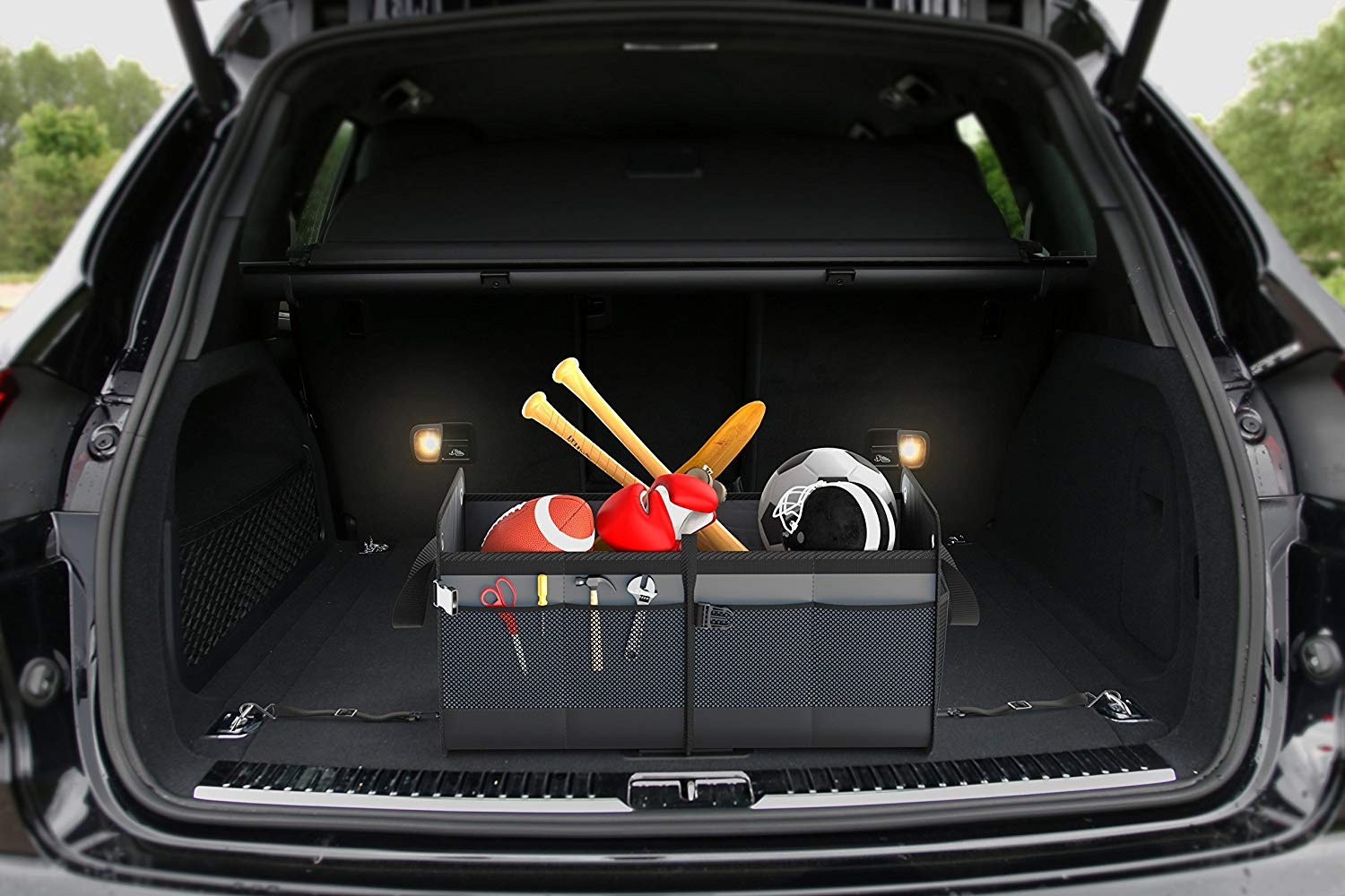 3 Compartment, Black Straps Foldable Cover Waterproof Non Slip Bottom Cargo Storage FORTEM Car Trunk Organizer