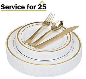 Stock Your Home 125 Piece Gold Rimmed Elegant Disposable Plastic Silverware Plates
